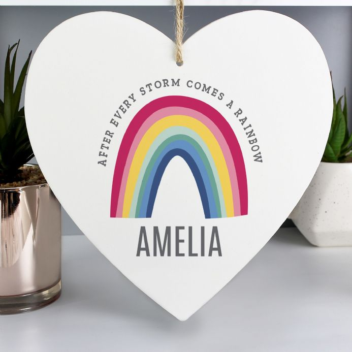 Rainbow Large Wooden Heart Decoration